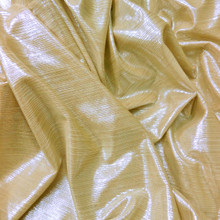 Metallic Pin Stripe Spandex 2Way Stretch Fabric - Light Gold