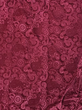 "3D PAISLEY EMBOSS STRETCH VELVET 60""W - RED WINE"