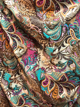 "Colorful Floral Paisley Faux Silk Satin 48""W Fabric - Brown"
