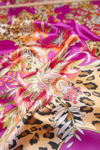 "Animal Floral Faux Silk Satin 48""W Fabric - Pink Brown"
