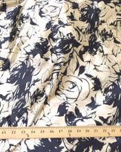"Rosette Floral Faux Silk Satin 48""W Fabric - Black & Gold"