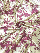 "Rosette Floral Faux Silk Satin 48""W Fabric - Dark Red & Ivory Gold"