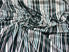 "Stripes Faux Silk Satin 48""W Fabric - Black Turquoise Ivory"