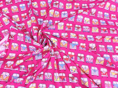 Retro Peace & Love Camper Van Fabric 100% Cotton - Pink