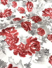 "Floral Roses Faux Silk Satin 48""W Fabric - Ivory Gray Red"