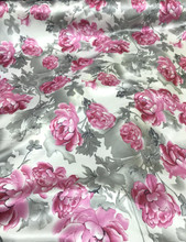 "Floral Roses Faux Silk Satin 48""W Fabric - Ivory Gray Pink"