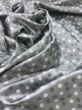 "Multi Color Polka Dot Faux Silk Satin 48""W Fabric - Gray Pink"