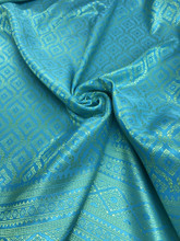 "Thai Silk Damask 40""W Fabric (PJ) - Turquoise Blue & Gold"