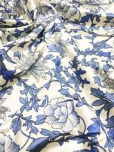 "Oriental Floral Gray Ivory Faux Silk Satin 48""W Fabric"