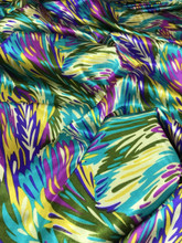 """Feather Prints Turquoise Blue Faux Silk Satin 48""""W Fabric"""