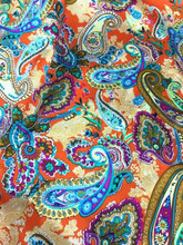 "Paisley Print Faux Silk Satin 48""W Fabric - Orange"