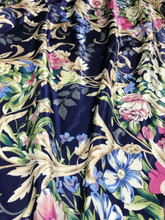 "Floral Colorful Roses Faux Silk Satin 48""W Fabric - Dark Blue"