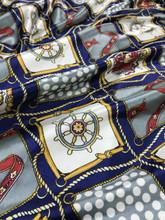 "Nautical & Polka Dot Faux Silk Satin 48""W Fabric - Dark Blue"