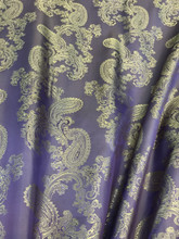 "Paisley Jacquard Viscose Fabric 60""W - Purple & Light Gold"
