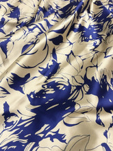 "Rose Rosette Floral Faux Silk Satin 48""W Fabric - Royal Blue & Gold"