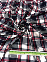 "Plaid Tartan Woven Cotton Fabric 44""W - Black Red White"