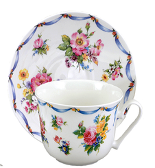 "Heirloom""Dresden"" English Bone China Cup and Saucer"