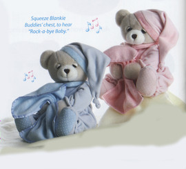 FREE SHIPPING-Blankie Buddies'  10' plush Blue Bear by Aurora Plush