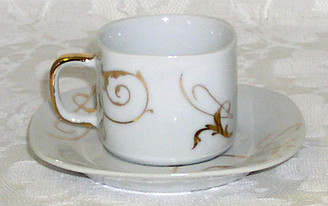 Demitasse (Espresso) Set of Six Fine Porcelain  Cups & Saucers