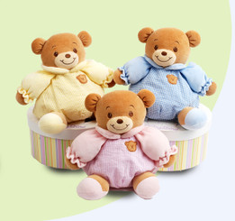 Baby Bow 8-1/2' Teddy Bear in Hat Box With Built-In Rattle