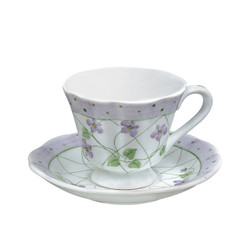 Andrea by Sadek Lavender Set of Four ribbed porcelain Cups and Saucers