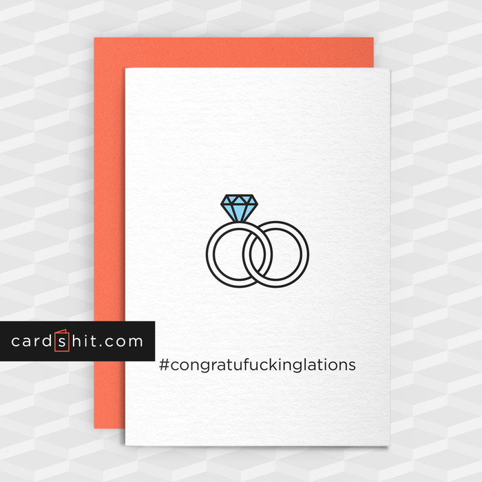 Greeting Cards Congratulations Cards Congratufuckinglations wedding engagement ring