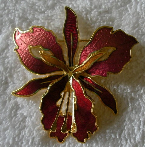 Orchid Brooch, Red