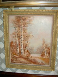 Birch Trees Scenery Original Oil Painting by C Innes