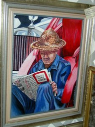 Chinese Man Reading Original Acrylic Painting by Ann Marie Batiste