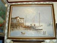 Harbor Scene Original Oil Painting by W. Jones