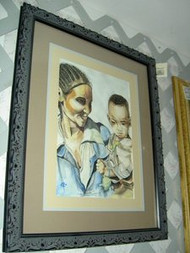 Mother And Child Original Watercolor by Ann Marie Batiste