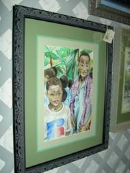 African Boys In Crowd Original Watercolor by Ann Marie Batiste