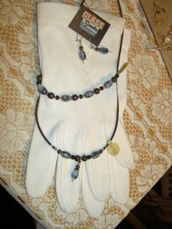 Black & Blue Beaded Necklace, Bracelet and Earring set Hand Made By Shannon Greiczek