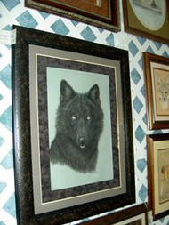 Black Wolf Framed Original Pastel Drawing by the Porter Family