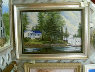 Cottage On Island Lake Original Oil Painting by J. W. Rajala