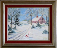 Winter Scene Original Acrylic Painting by Helen Heldt