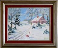 Winter Scene Original Acrylic Painting by Helen Heldt