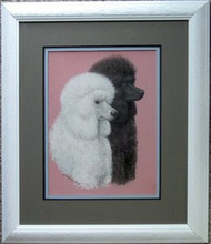 Poodles Framed Original Pastel Drawing by the Porter Family