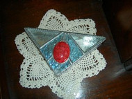 Triangle Shaped with Red Jewel Stained Glass Box by Lorinda Niemi