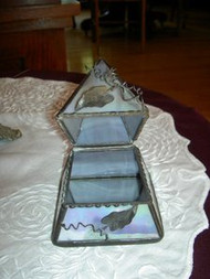 Green/Blue Iridescent Pyramid Stained Glass Box by Lorinday Niemi