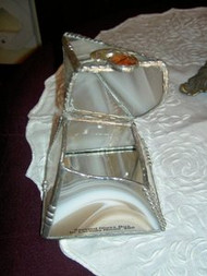 White Streaked Pyramid Stained Glass Box by Lorinda Niemi