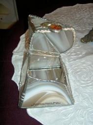 White Streaked Pyramid Stained Glass Box by Lorinda Niemi