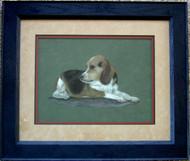 Framed Original Pastel Drawing Beagle Dog