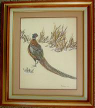 Framed Original Watercolor Ring-necked Pheasant
