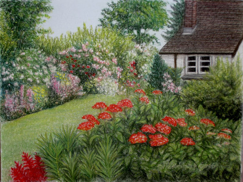 Flower Garden Drawing original pastel drawing flower garden - wilder fine arts