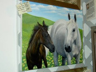 Original Acrylic Painting White Horse and Brown Foal