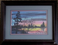 Sunset Framed Watercolor Painting by Sue Vittone