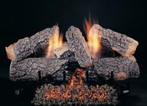 Bark side of logs showing