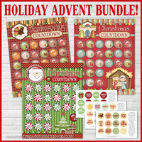 HOLIDAY ADVENT BUNDLE, Thanksgiving, Christmas (Santa and Nativity) Printable DOWNLOAD
