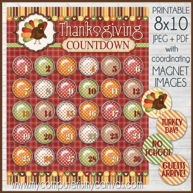 Thanksgiving Countdown ADVENT Printable DOWNLOAD